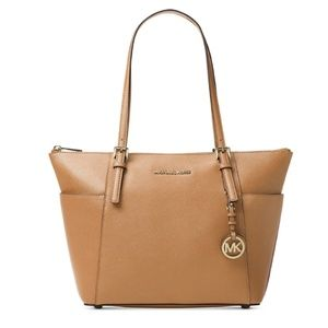 M Michael Kors Saffiano Tan Jet Set Shoulder Bag